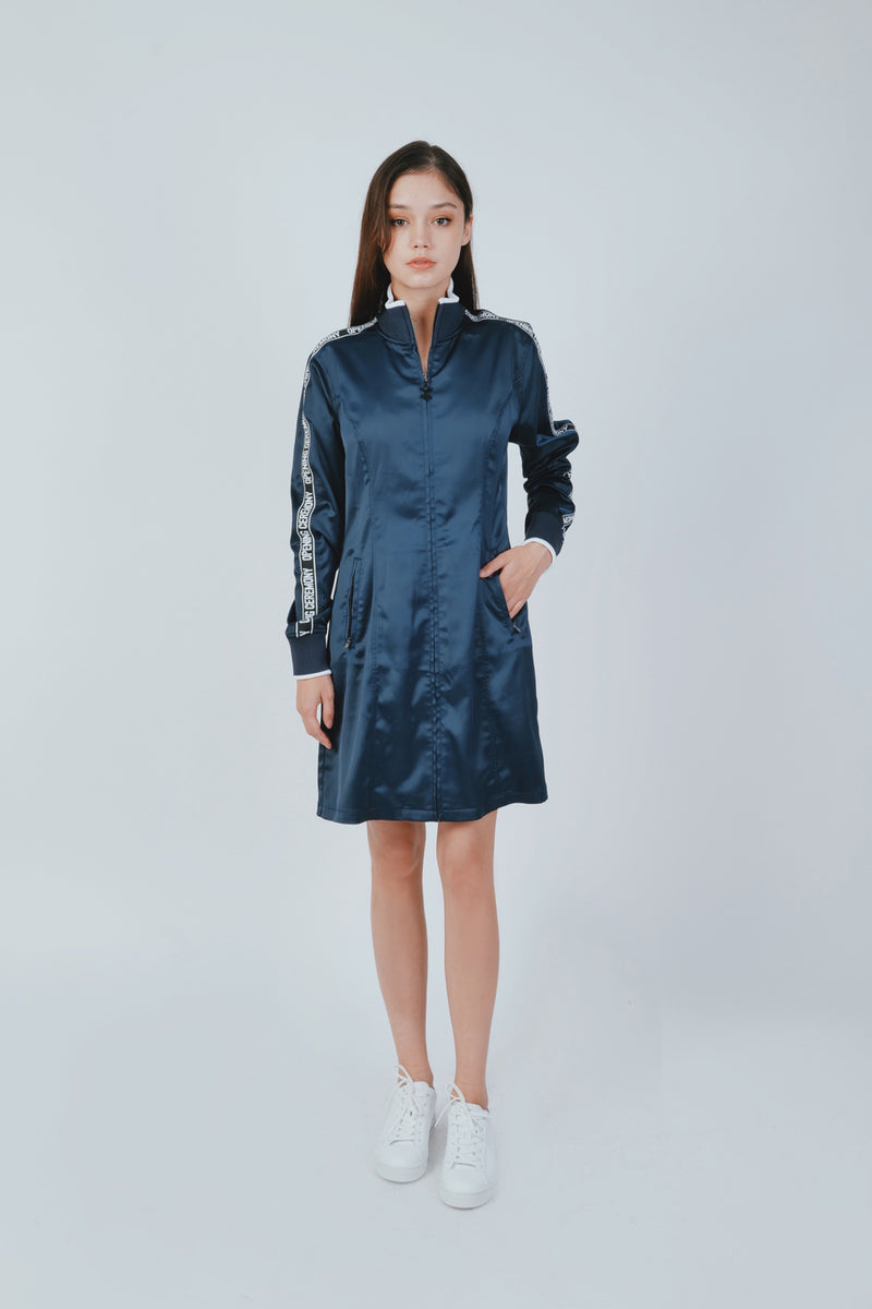 STRETCH SATIN LOGO TRACK DRESS