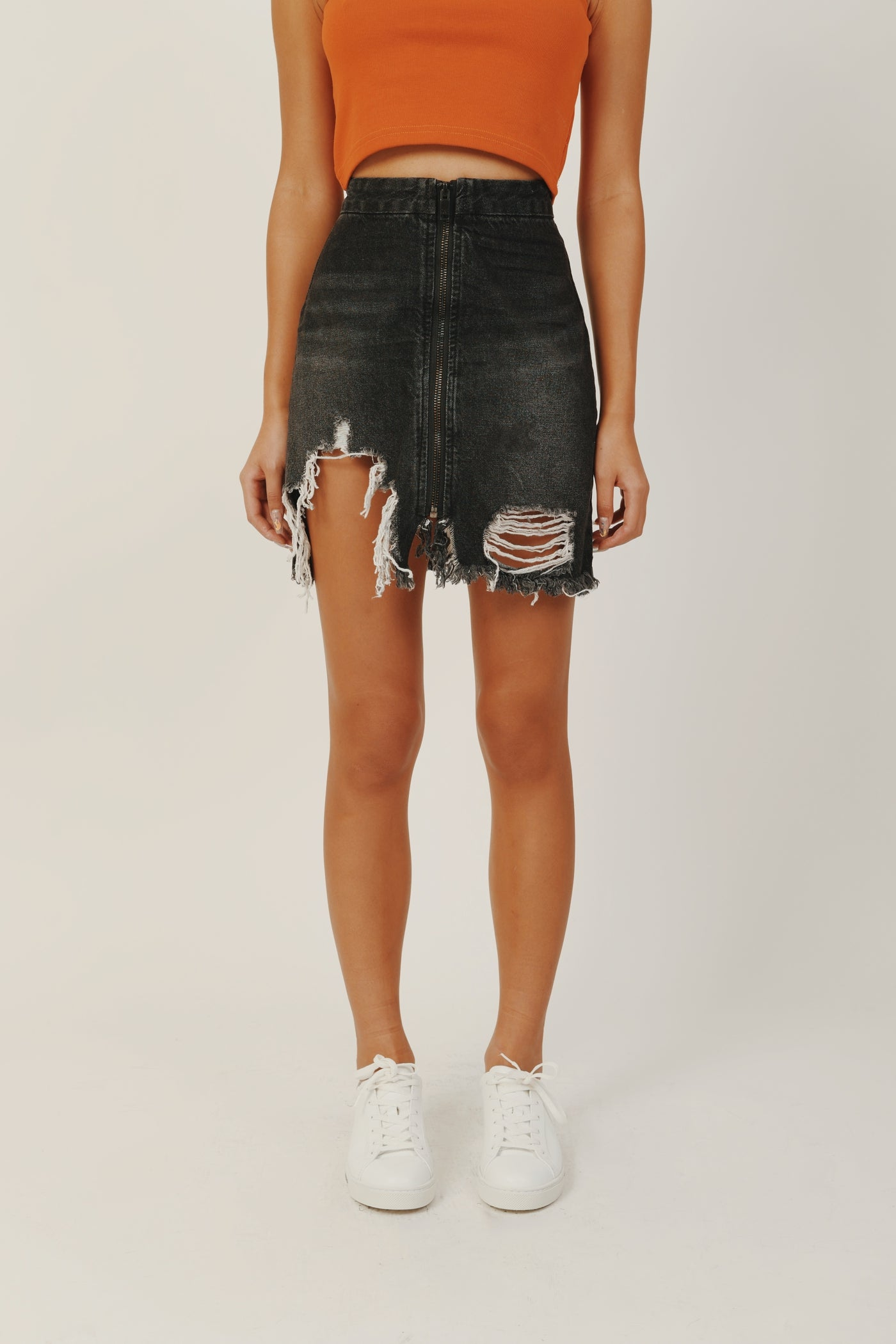 VIXEN HW A LINE DENIM SKIRT