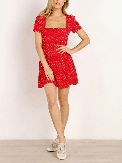CHERRY DOTS MAIDEN MINI DRESS