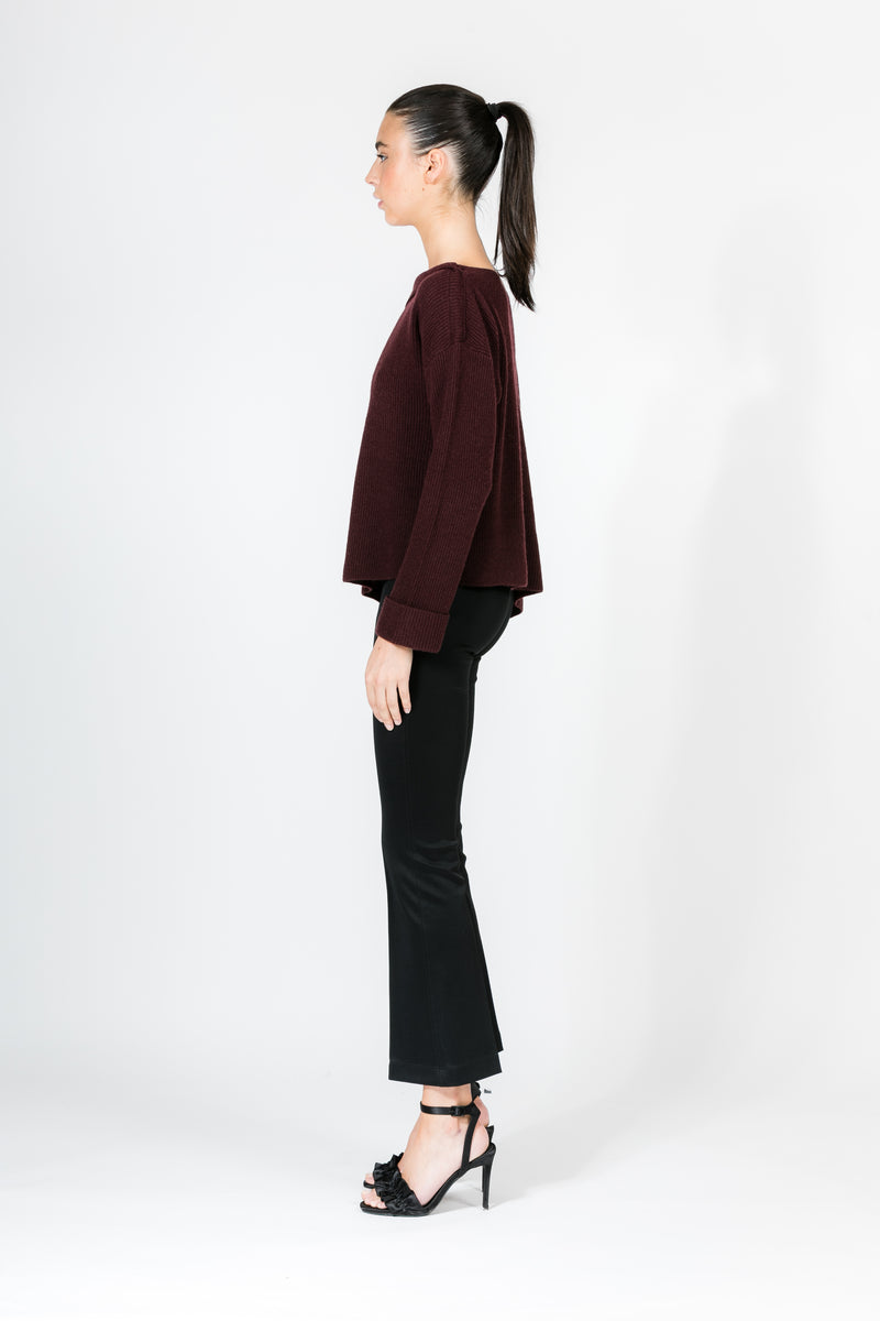 BLACK CHERRY ASYMMETRICAL RIBBED PULLOVER