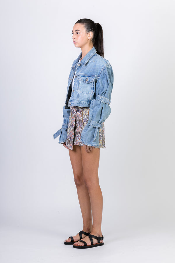 CLASSIC DENIM TIE SLEEVE JACKET