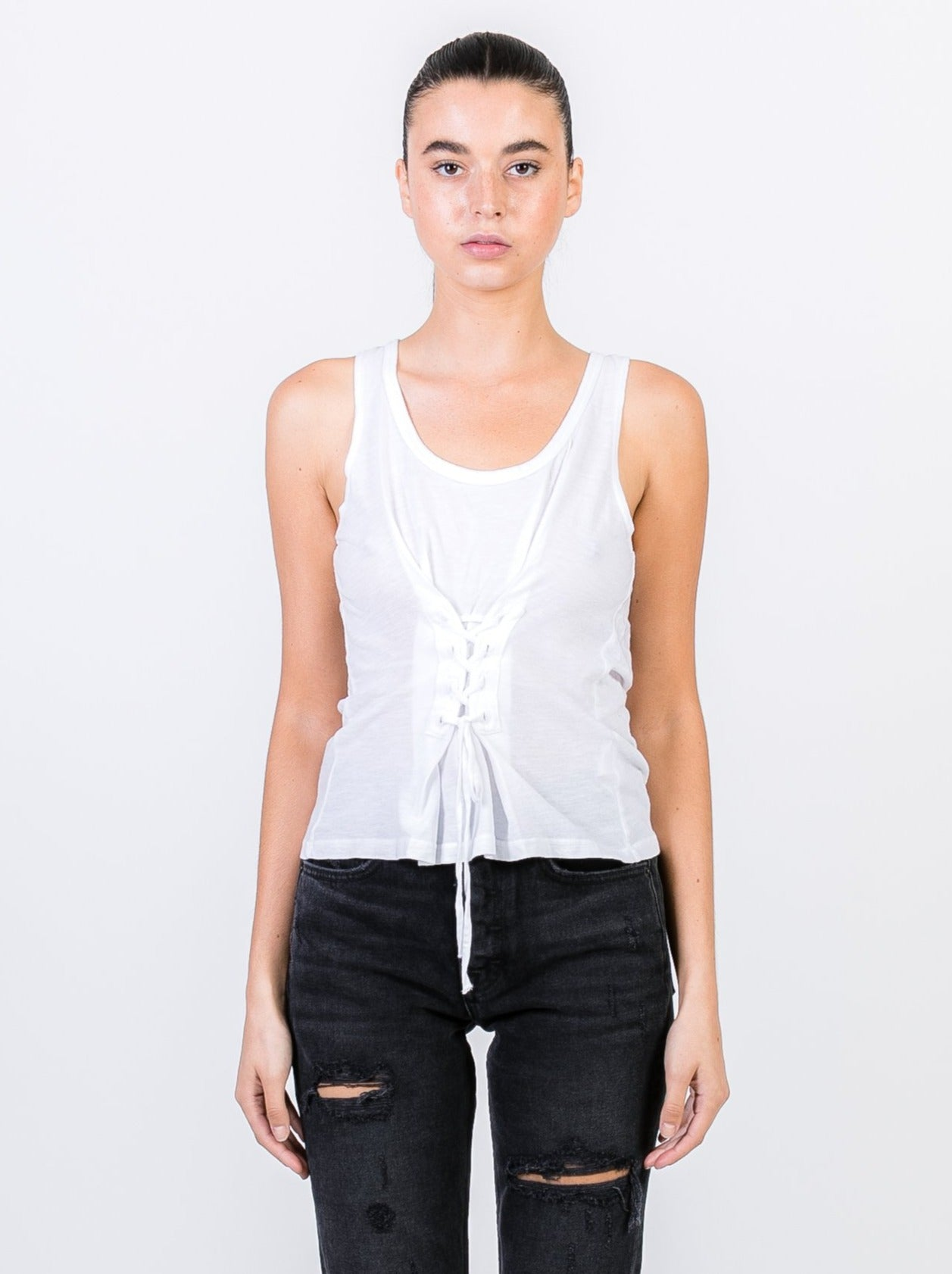 WHITE LACIE COTTON TANK