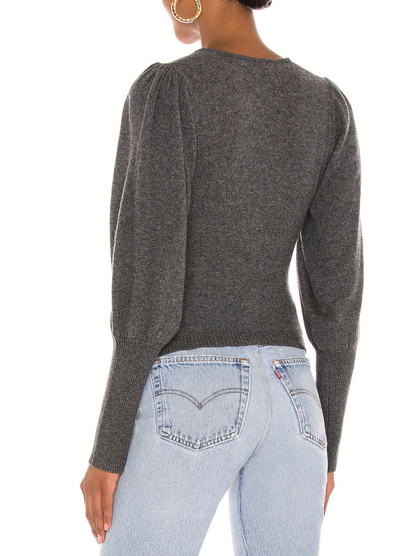 GREY HEATHER CROP SHIRRED SWEATER