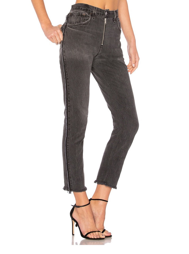 BLACK HIGH RISE CROP EXPOSED ZIP JEANS