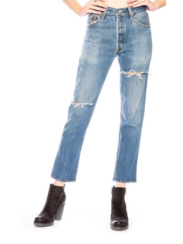 INDIGO HIGH RISE ANKLE CROP 2BREAKLINE JEANS