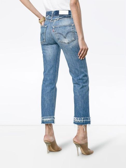 INDIGO HIGH RISE ANKLE CROP REATTACHED HEM JEANS