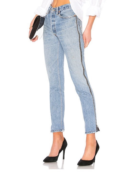 INDIGO HIGH RISE ANKLE CROP SIDE ZIP JEANS