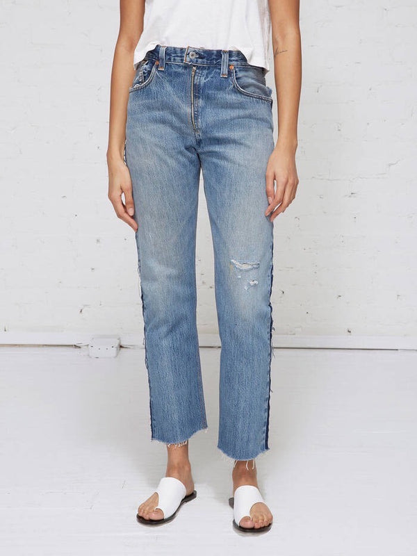 INDIGO HIGH RISE RELAXED CROP EXPOSED ZIP JEANS
