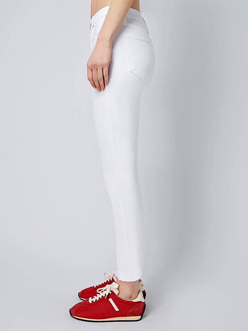 WHITE HIGH RISE ANKLE CROP STRETCH JEANS