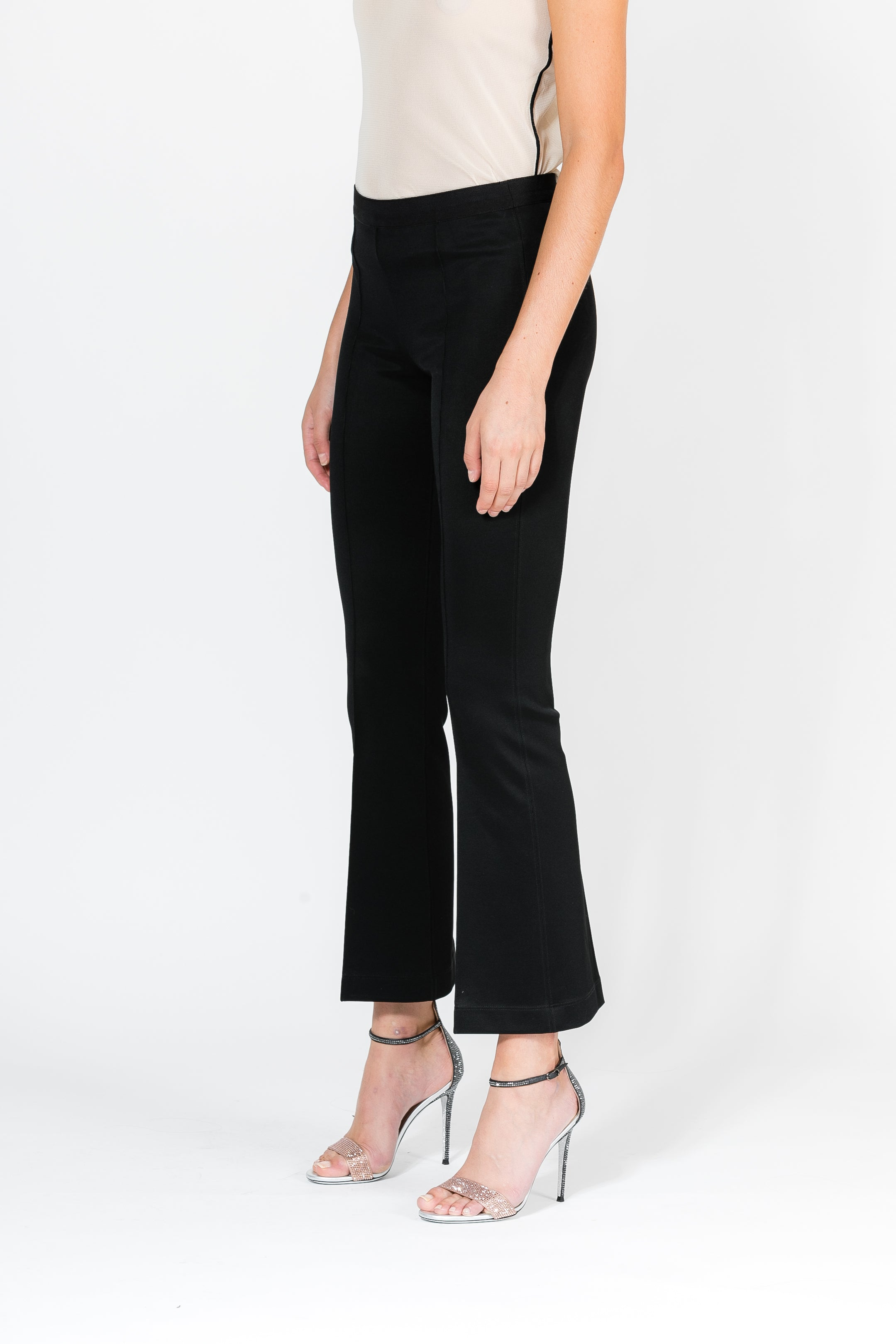 CROPPED FLARED RIB LEGGING