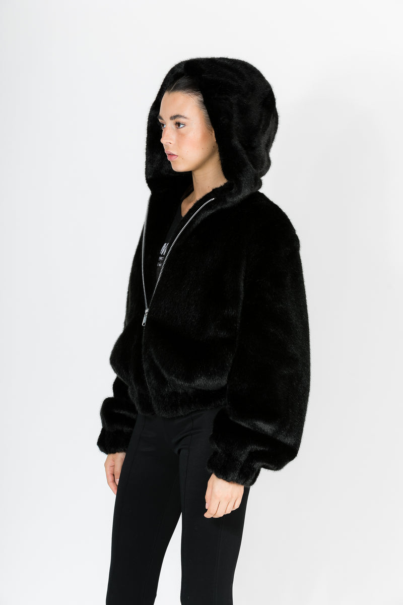 BLACK HOODED MINK BOMBER
