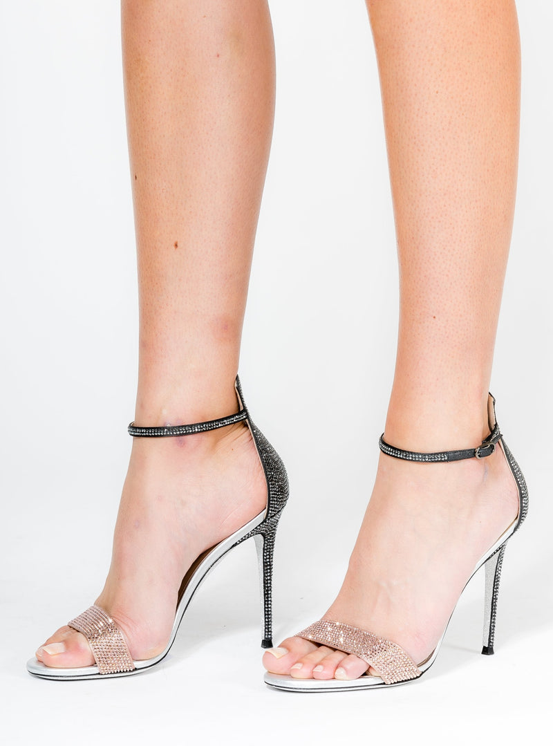 NUDE GREY SATIN/ROSE GOLD JET HEMATITE SANDAL