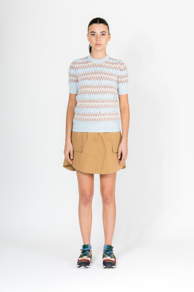 ZIG ZAG JACQUARD SHORT SLEEVE SWEATER