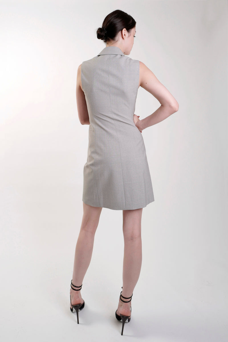 GREY GOOD WOOL SLEEVELESS BLAZER DRESS