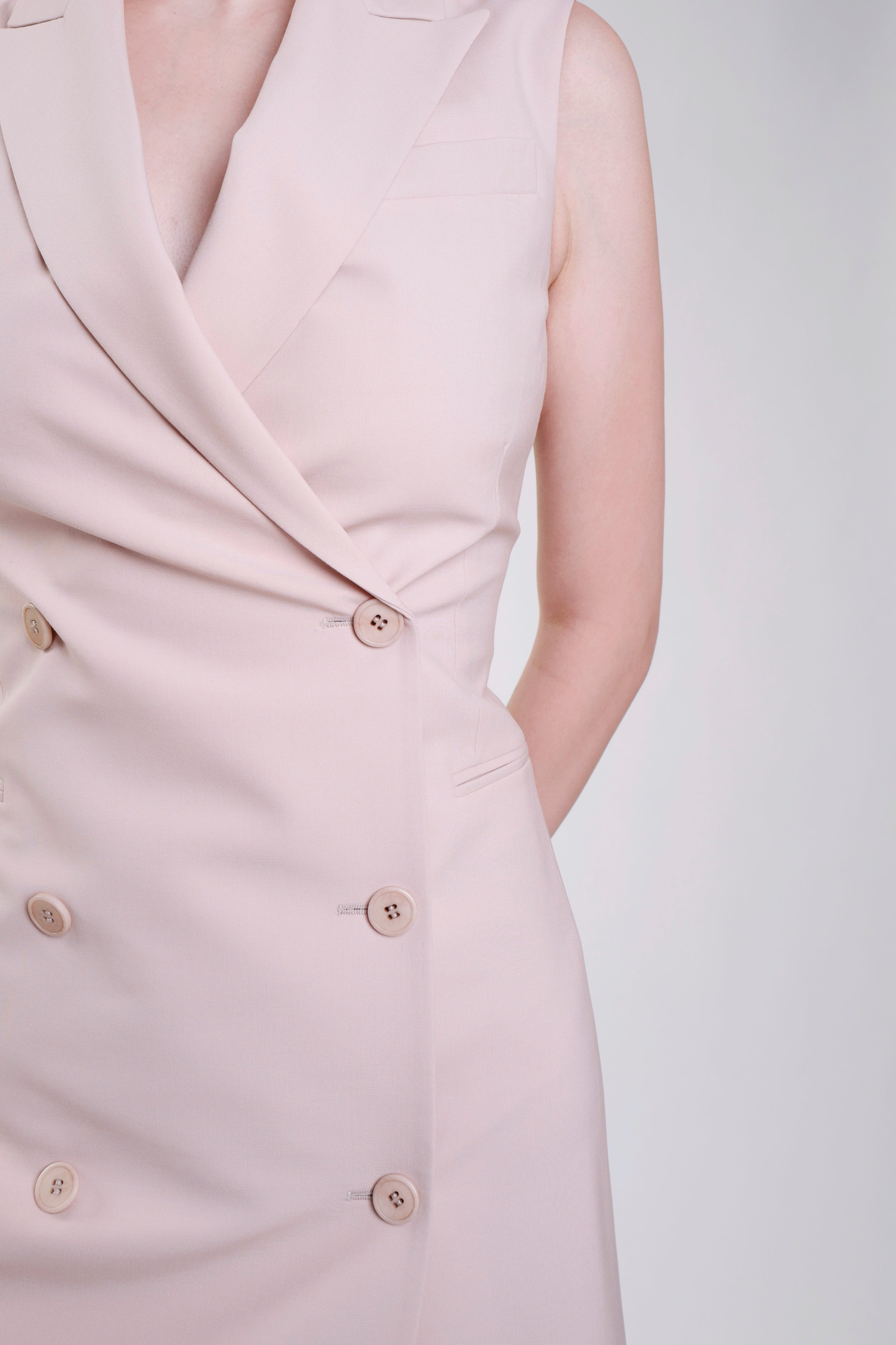 PINK GOOD WOOL SLEEVELESS BLAZER DRESS