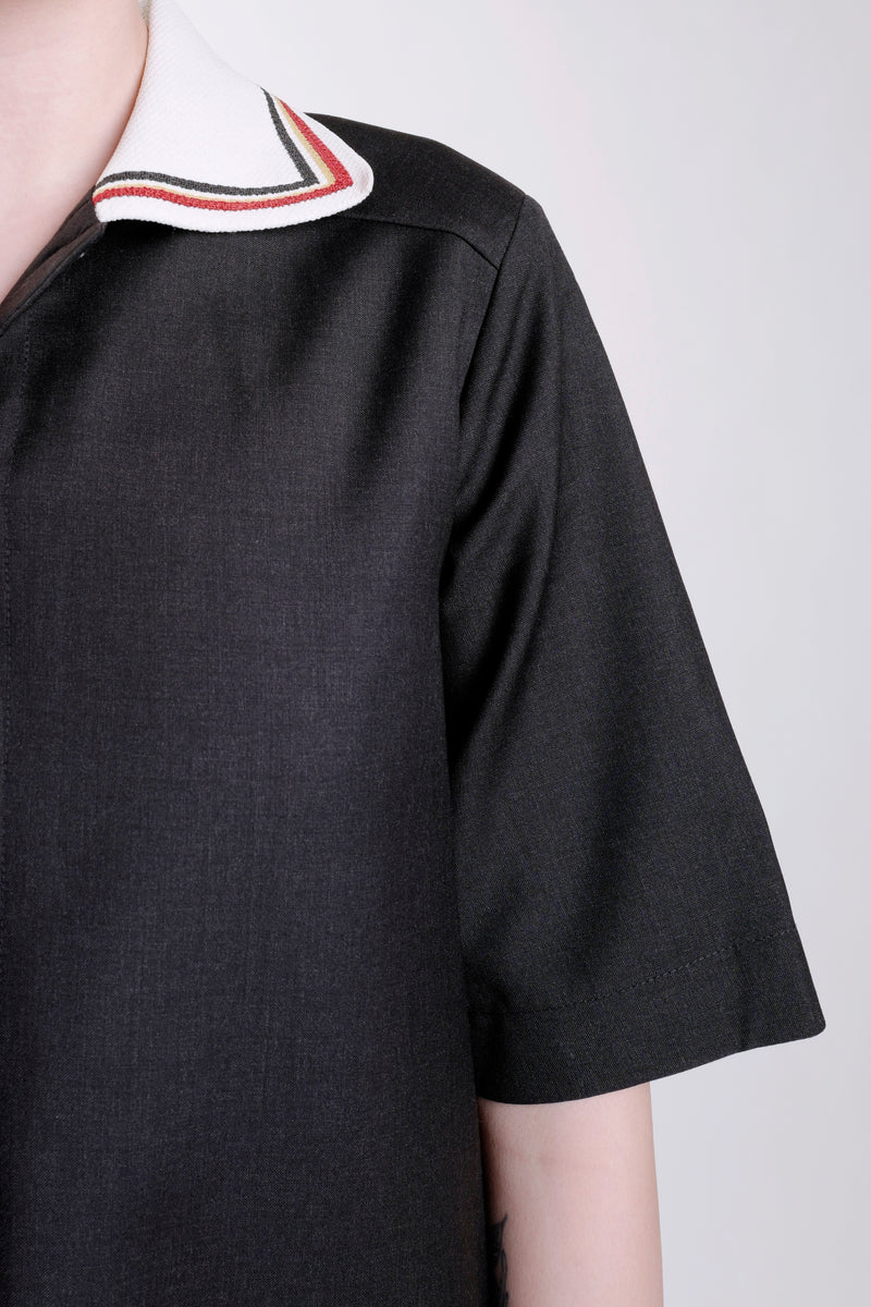 BLACK GABRIELLE RIBBED LONG TEE