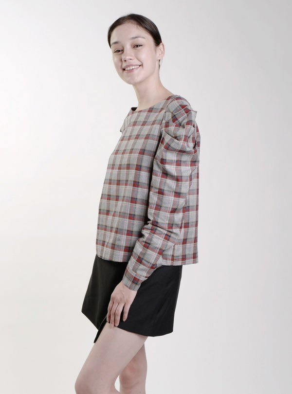 MULTI CHECK NELLY PUFFED SLEEVE TOP