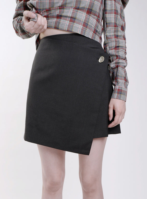 GREY WOOL WILLOW WRAP MINISKIRT