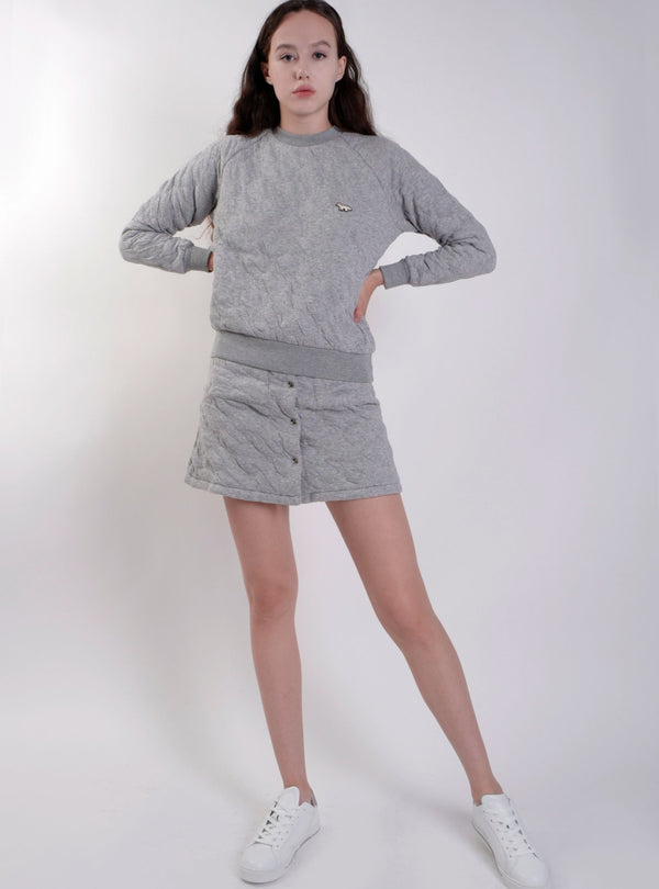 GREY QUILTED SWEATSHIRT