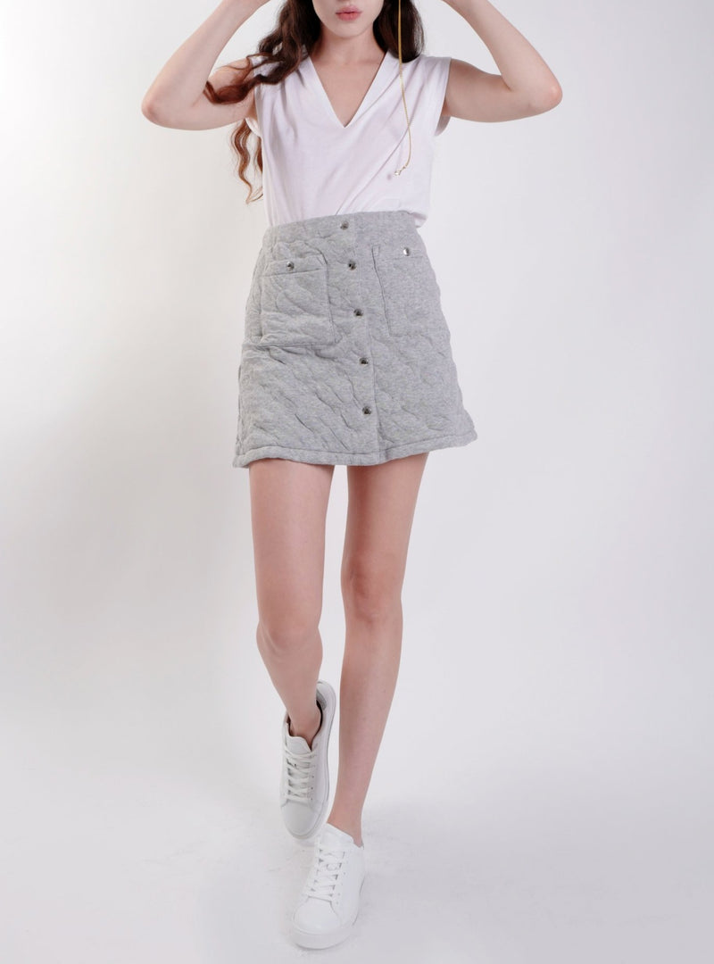 GREY QUILTED BUTTONED MINISKIRT