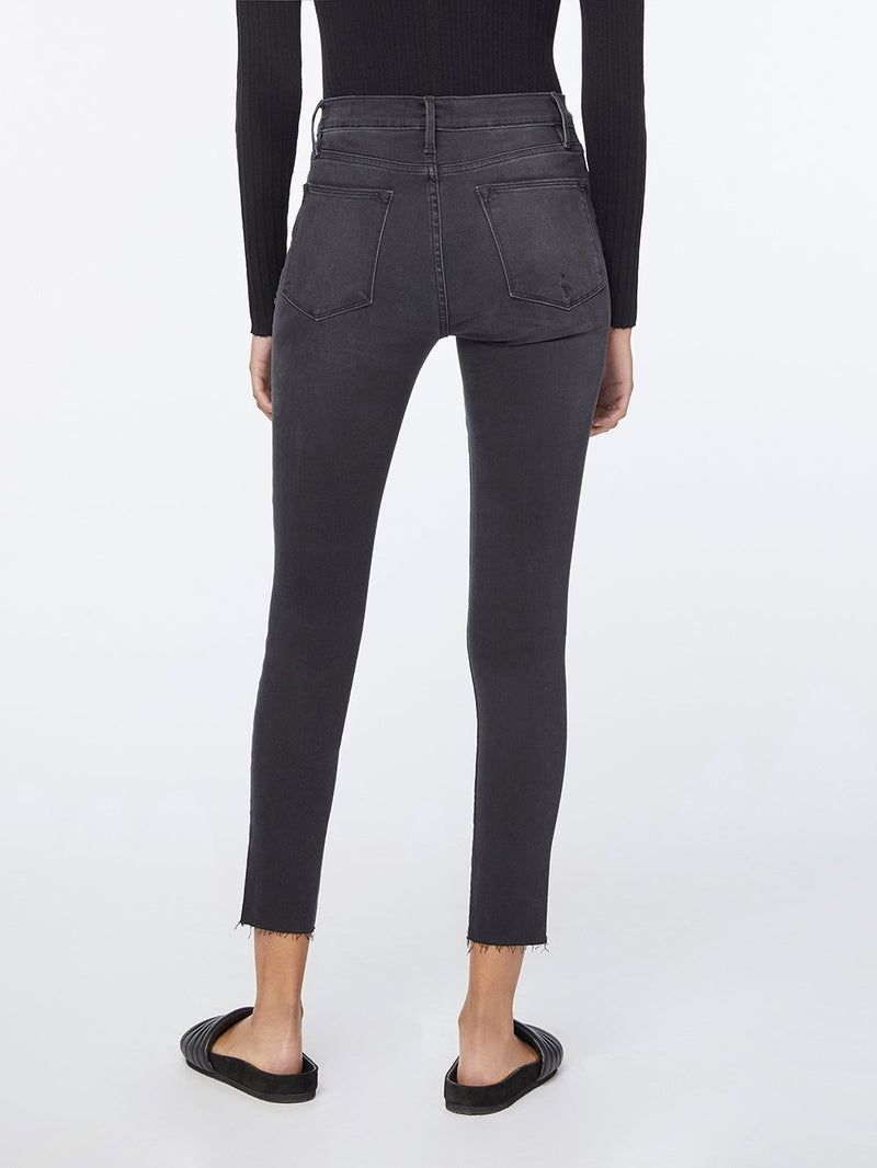"BLACK ""LE HIGH"" SKINNY CROP RAW EDGE JEANS"