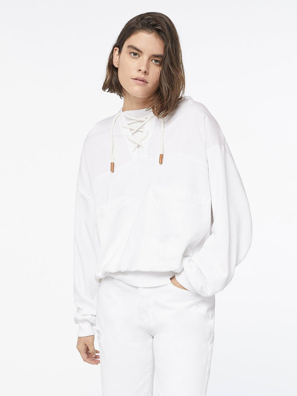 WHITE LACED SWEATSHIRT