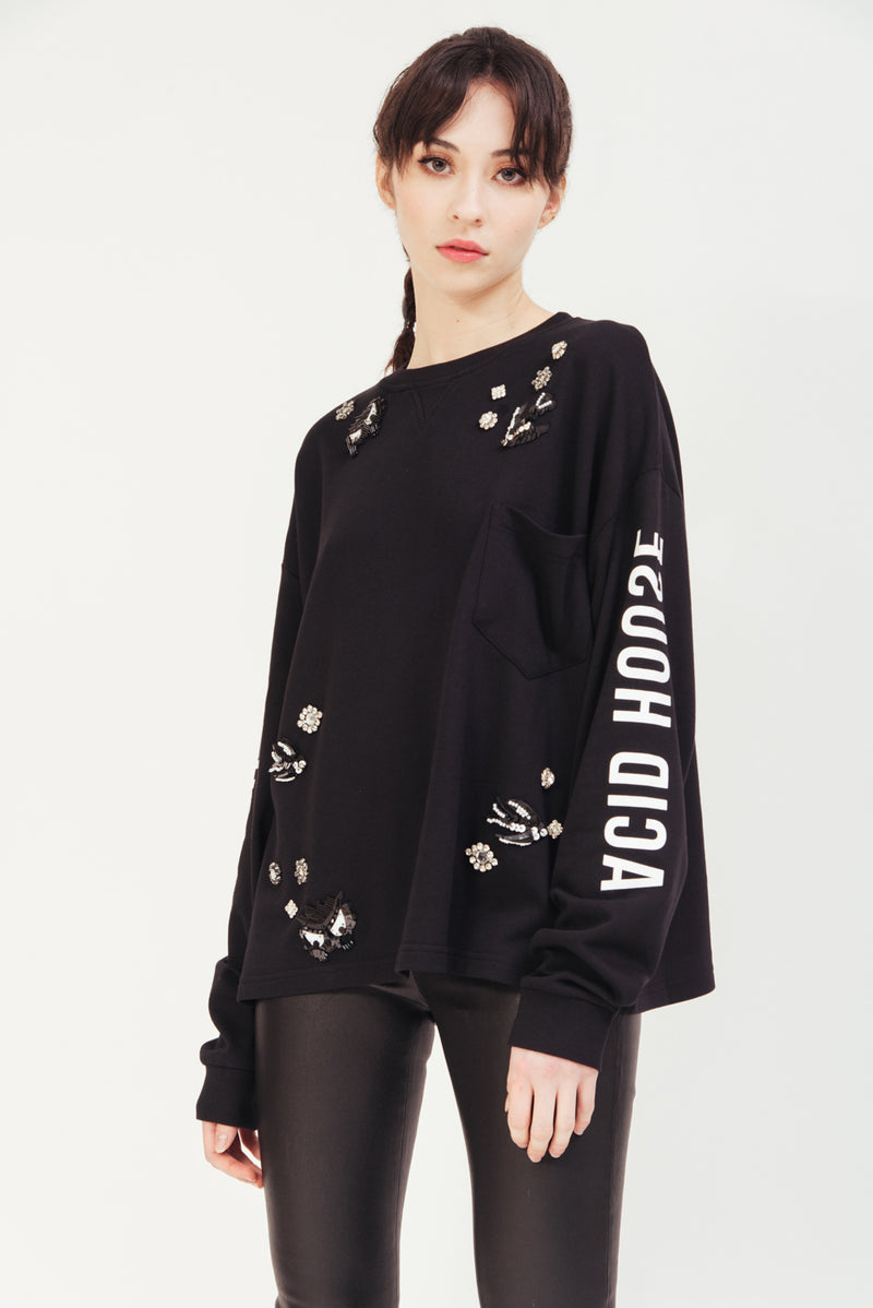 BLACK BEADED SWEATSHIRT