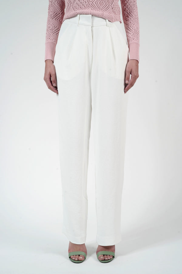 WHITE KONNY TEXTURED PANTS