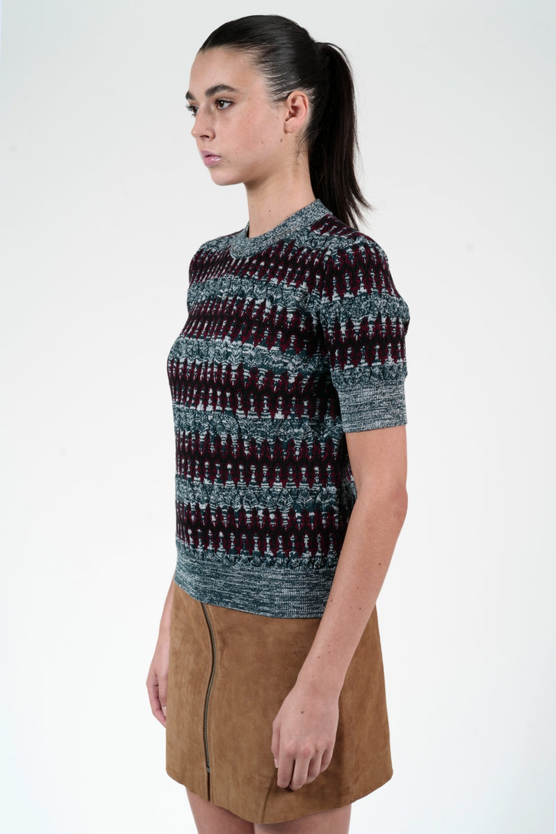 GRENAT ZIG ZAG JACQUARD SHORT SLEEVE SWEATER