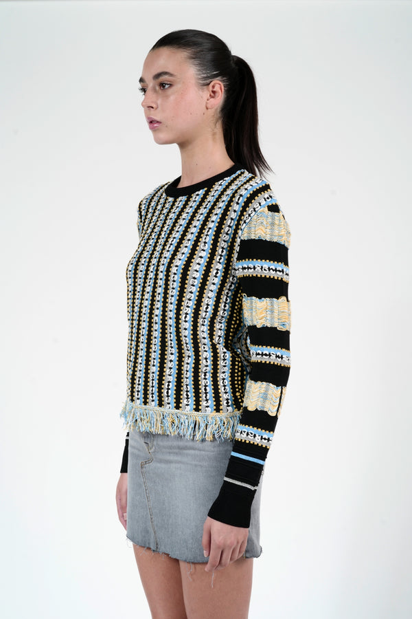 COTTON BLENDED FRINGE SWEATER