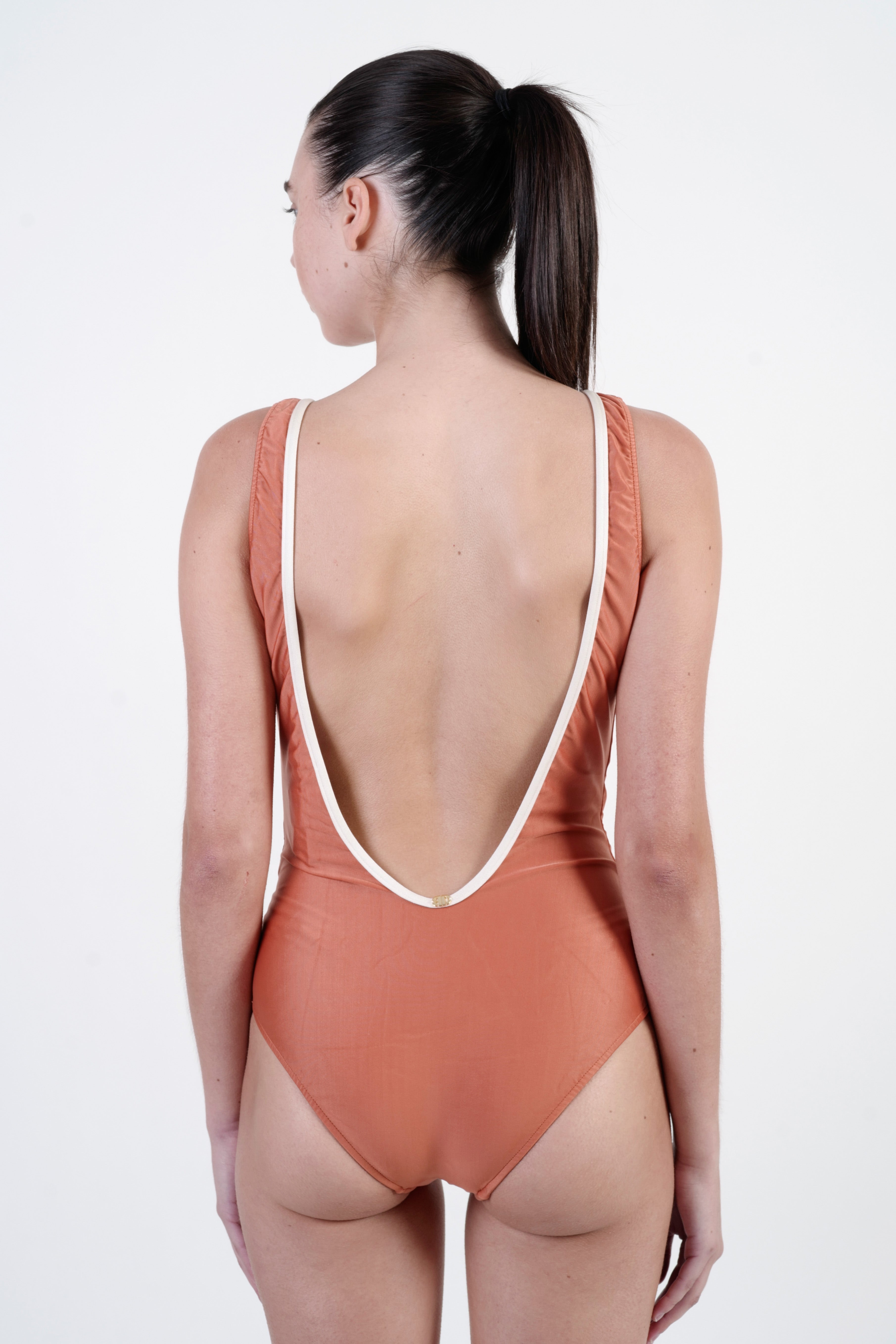 GINGER/OFFWHITE CROSS-FRONT SWIMSUIT WITH BUTTONS