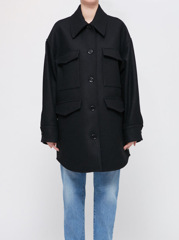 BLACK WOOL OVERSIZE COAT