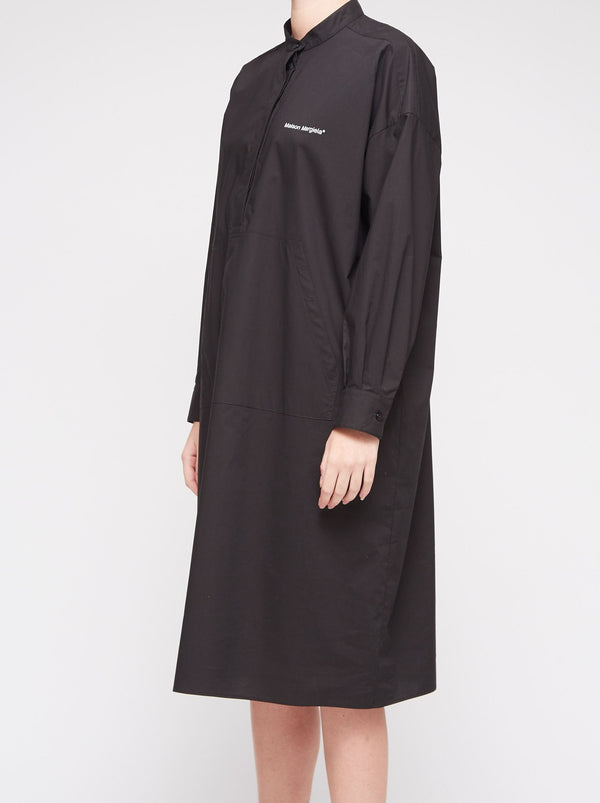 BLACK POPLIN POCKET DRESS