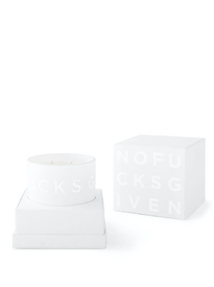 "PREMIUM CANDLE ""NO FUCKS GIVEN"" - Ivory, White"