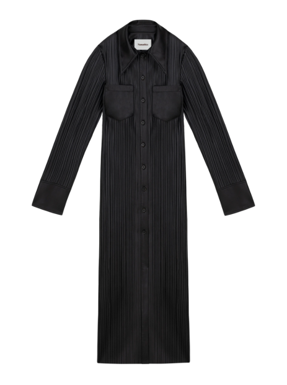 BLACK LEE PLEATED SHIRT DRESS