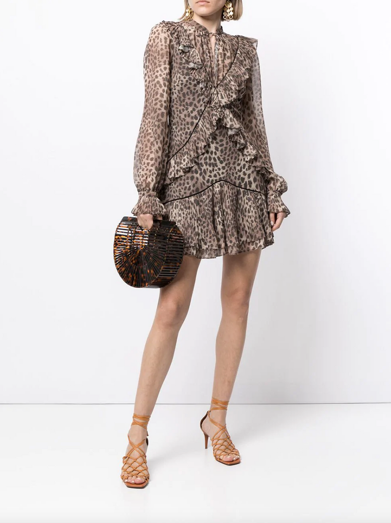CAMEL JOYA LEOPARD CHIFFON MINI DRESS
