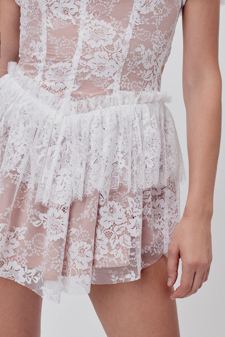 VERBENA LACE TIERED MINI DRESS