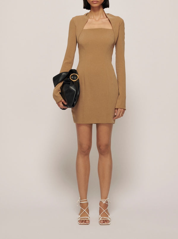 KHAKI MARIA FITTED MINI DRESS