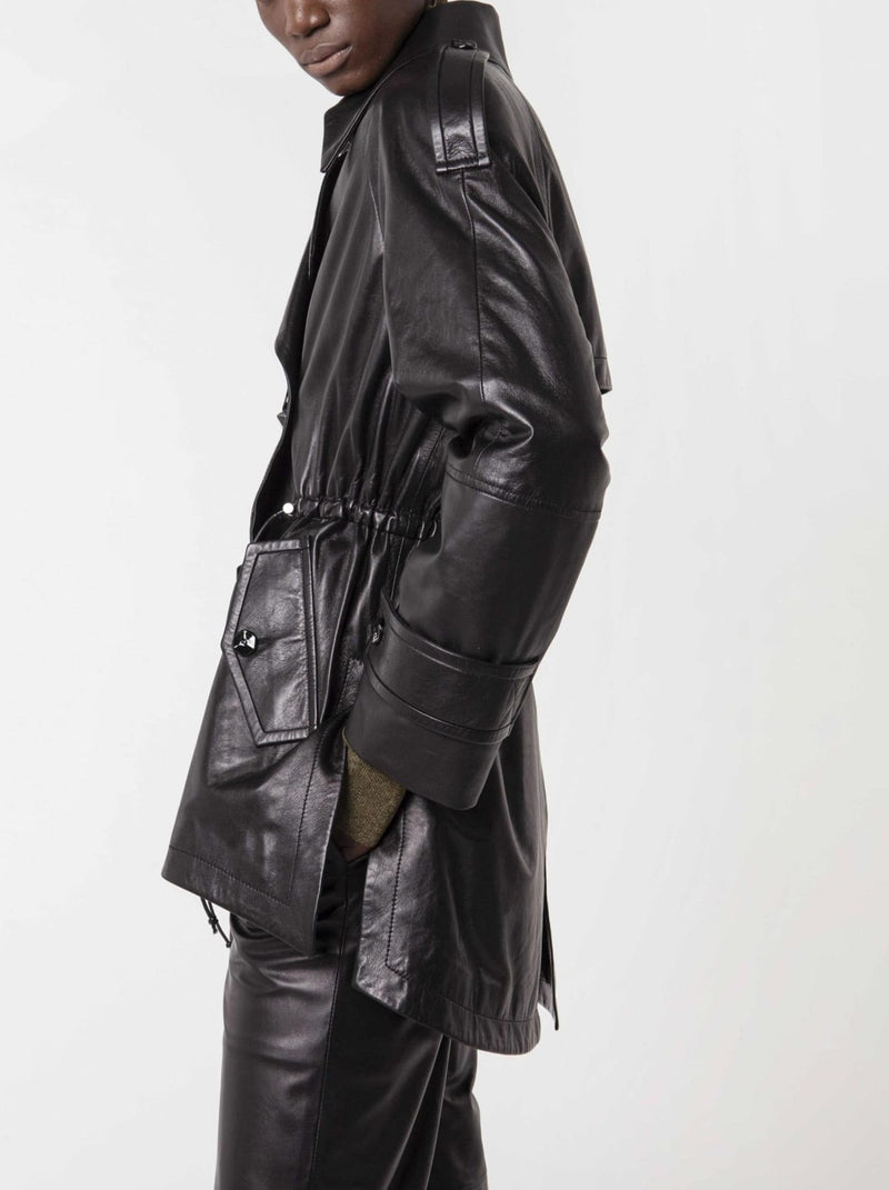 BLACK DOUBLE-BREASTED SOFT LEATHER JACKET