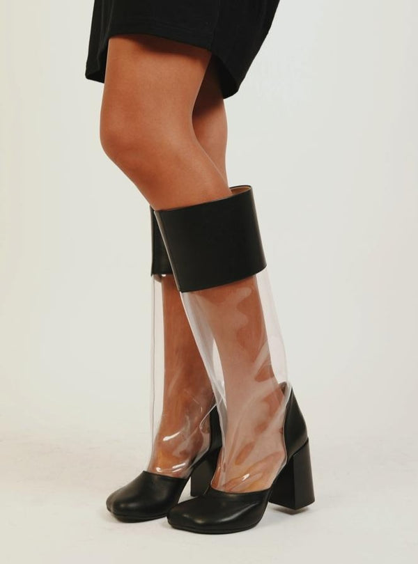 TRANSPARENT PVC TALL BOOTS