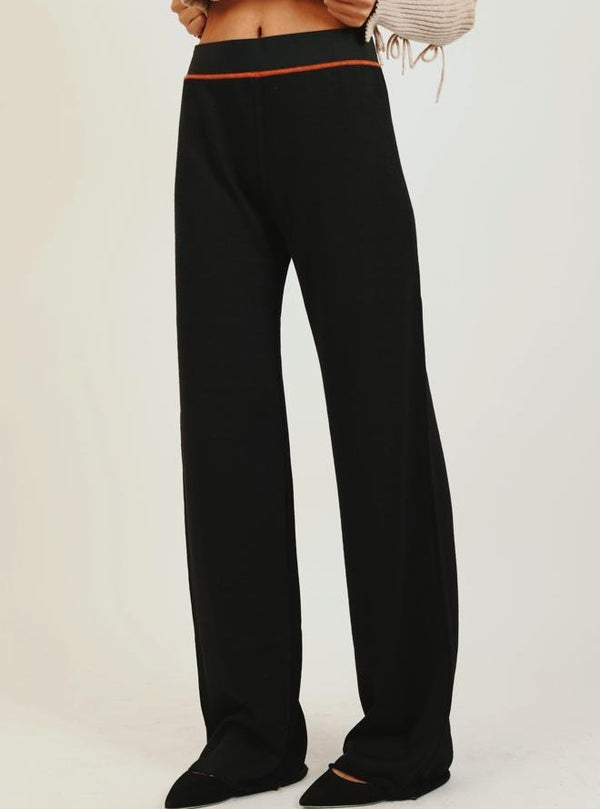 BLACK WIDE LEG KNIT PANTS