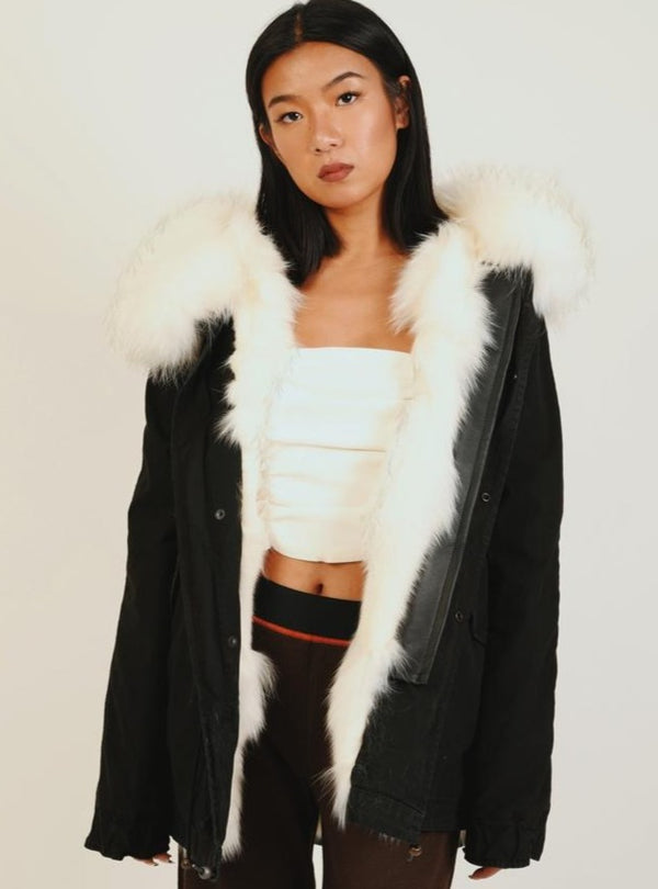 BLACK MINI PARKA - PATCH FOX RACCOON FUR - WHITE