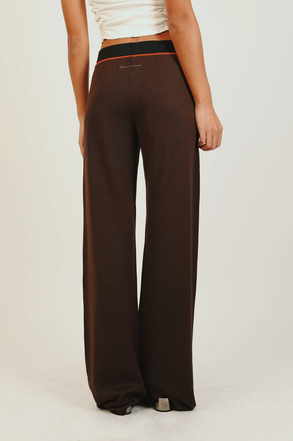 BROWN WIDE LEG KNIT PANTS