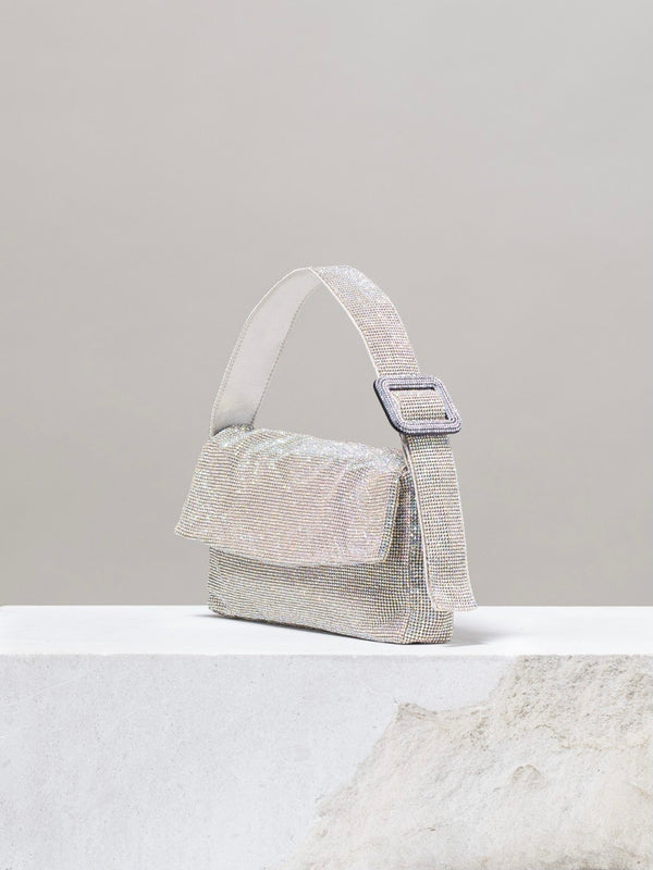 SILVER BASE CRYSTAL AB SHOULDER BAG