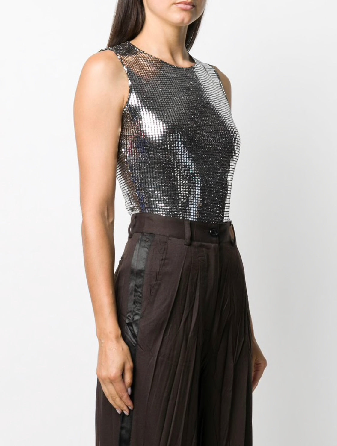 METALLIC SLEEVELESS BODYSUIT