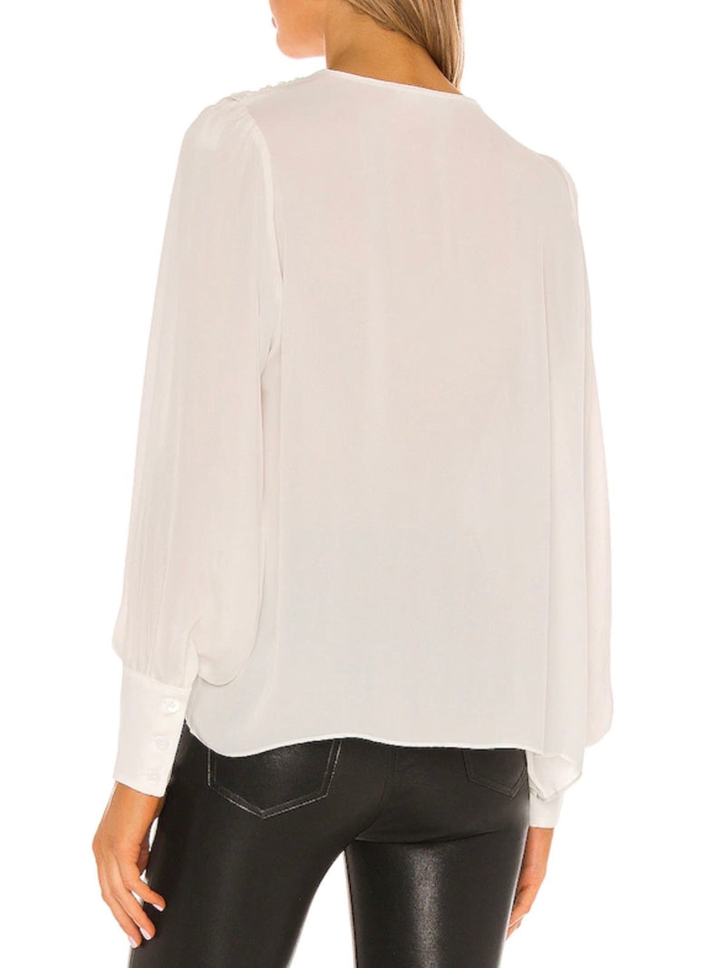 WHITE DRAPED SILK BLOUSE