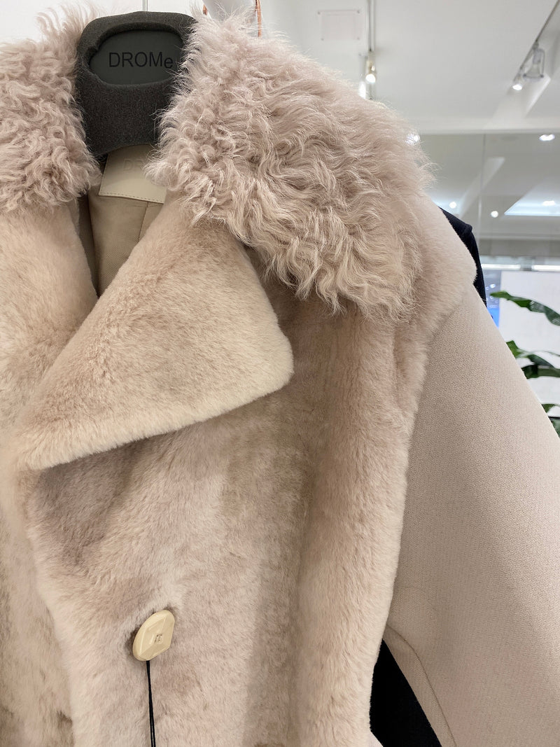 BEIGE SHEARLING WOOL LONG COAT