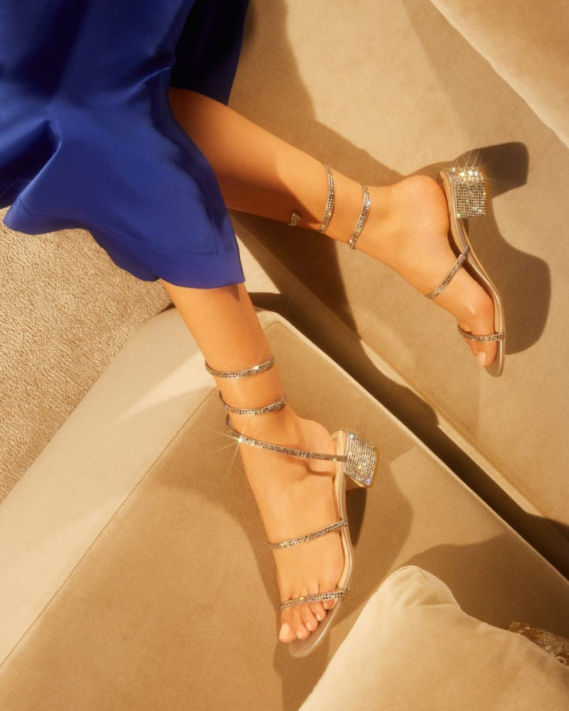 GREY SATIN/C. LIGHT CHROME STRASS SANDAL