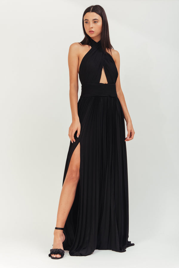 BLACK LONG CREPE PLISSE DRESS WITH X IN FRONT AND OPEN BACK