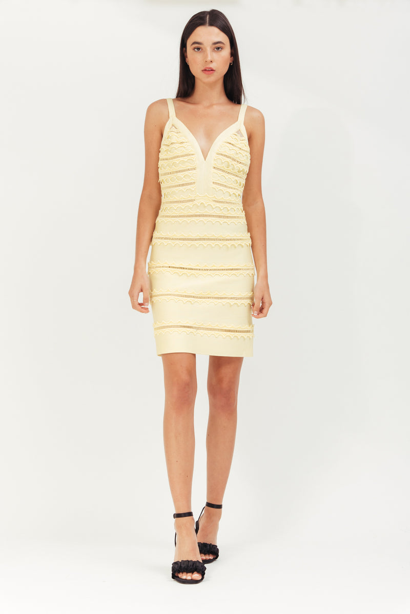 LEMON MINI ELASTIC BANDED DRESS WITH LACE TRIMMING